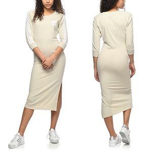 Adidas Three Stripe Midi Dress Khaki M